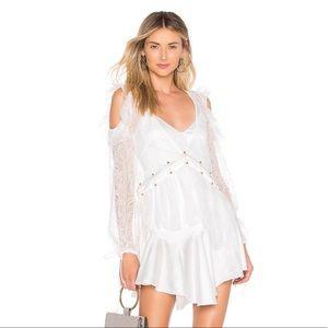 For Love & Lemons Sabina Layered Mini Dress White